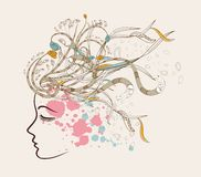 Beautiful doodle girl silhouette with floral ornaments Stock Photo
