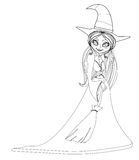 Beautiful doodle little witch Royalty Free Stock Photography