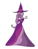 Beautiful doodle witch Stock Images