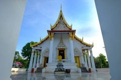 Beautiful door of public ancient old white vihara hall Buddha in Trirattanaram temple Royalty Free Stock Photography