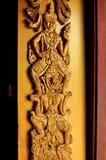 Beautiful door of thai temple. Beautiful golden door pattern of thai temple stock photography