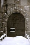 Beautiful door to a NH Church in winter time Royalty Free Stock Photos