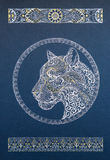 Beautiful dotwork snow leopard, panther, cat, with ornament Royalty Free Stock Photography