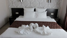 Beautiful double bed in the hotel Stock Image