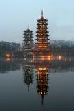 Beautiful double pagodas of Banyan Lake, Guilin, China Royalty Free Stock Images