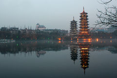 Beautiful double pagodas of Banyan Lake, Guilin, China Royalty Free Stock Photography