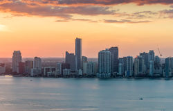 Beautiful Downtown Miami skyline at sunset Royalty Free Stock Image