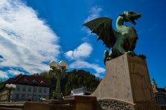 Beautiful Dragon Bridge, Ljubljana, Slovenia Royalty Free Stock Images