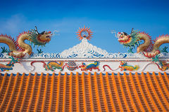 Beautiful dragon roof of Chinese temple Royalty Free Stock Photos