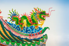 Beautiful Dragon Sculpture on the Chinese Pavilion Roof in the C Stock Image