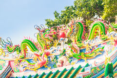 Beautiful Dragons Sculpture on the Chinese Pavilion Roof in the Royalty Free Stock Photo