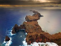 Madeira aerial landscape. Beautiful dramatic aerial landscape panorama of the island Madeira from Ponta de Sao Lourenco nature reserve at sunrise royalty free stock photography