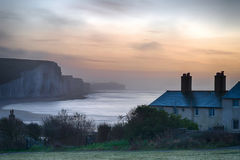 Beautiful dramatic foggy Winter sunrise Seven Sisters cliffs lan Royalty Free Stock Photo