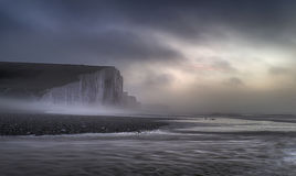 Beautiful dramatic foggy Winter sunrise Seven Sisters cliffs lan Royalty Free Stock Images
