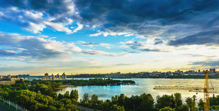 Beautiful dramatic panoramic aerial view of the reservoir from the roof, left bank, Voronezh Stock Image