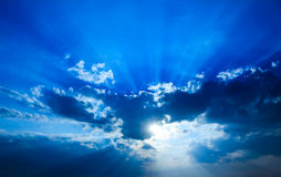 Beautiful dramatic sky. Beautiful dramatic sky with sun rays stock images