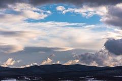 Beautiful dramatic sky. Clouds looks like frame. Royalty Free Stock Image