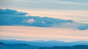 Beautiful dramatic Summer sunset landscape over English countrys. Beautiful moody Summer sunset landscape over English countryside with lovely light Royalty Free Stock Photos