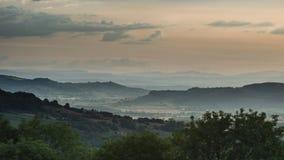 Beautiful dramatic Summer sunset landscape over English countrys. Beautiful moody Summer sunset landscape over English countryside with lovely light Stock Photography
