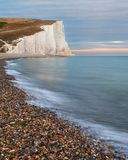 Stunning colorful dramatic Summer sunset over Seven Sisters land. Beautiful dramatic Summer sunset over Seven Sisters landscape in Englad Royalty Free Stock Photo