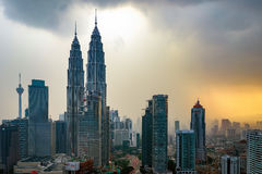 Beautiful dramatic sunset over Kuala Lumpur city skyline Stock Photo