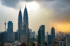 Beautiful dramatic sunset over Kuala Lumpur city skyline Stock Photo