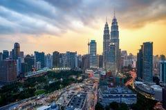 Beautiful dramatic sunset over Kuala Lumpur city skyline Royalty Free Stock Image