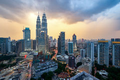 Beautiful dramatic sunset over Kuala Lumpur city skyline Royalty Free Stock Image