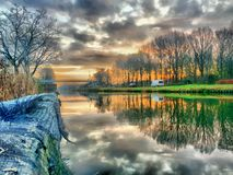 Beautiful dramatic sunset from the quay Stock Image