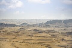 Beautiful dramatic view of the desert. Wilderness. Nature landscape. Makhtesh crater Ramon Crater, Israel
