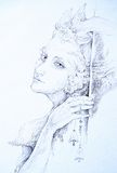 Beautiful drawing of elven fairy creature with tinker bells, mon Royalty Free Stock Image