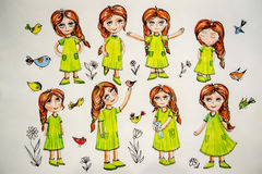 Beautiful drawing of a girl with birds Royalty Free Stock Photography
