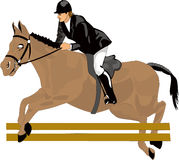 Beautiful drawing, racehorse. Drawing racehorse, color,to jump, ideal for heading or card Stock Photo