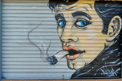 A picture of a smoker`s Shop-graffiti royalty free stock images