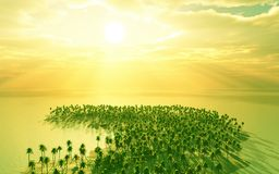 Beautiful dream island. View from sky. 3d image Stock Photography