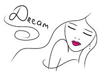 Beautiful dreaming doodle girl Stock Photos