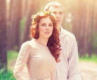 Beautiful dreamy couple Royalty Free Stock Images