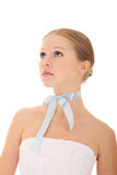 Beautiful dreamy girl with ribbon. Beautiful dreamy girl with blue silk ribbon stock photos