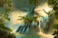 Beautiful dreamy jungle landscape with big old tree royalty free illustration