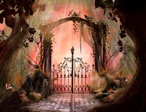 Beautiful dreamy landscape Archway in an enchanted garden royalty free illustration