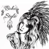 Beautiful dreamy longhaired girl weared in boho style Royalty Free Stock Photography