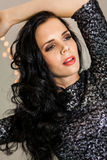 Beautiful dreamy woman with glitter dress dancing Royalty Free Stock Photos