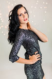 Beautiful dreamy woman with glitter dress dancing Royalty Free Stock Image