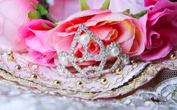 beautiful dress fabric rose princess tiara crown Stock Photography