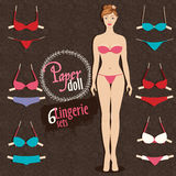 Beautiful dress up paper doll and lingerie sets with fixing Stock Images