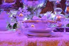 Beautiful dressed table, white kitchenware Royalty Free Stock Image