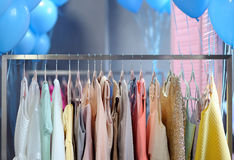 Beautiful dresses on a hanger Stock Photo