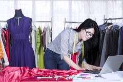 Beautiful dressmaker working with a laptop. Image of beautiful dressmaker working with a laptop while standing in the workplace Stock Image