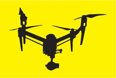 Beautiful dron with camera icon vector quadrupter sign simple, isolated on yellow stock illustration