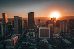 Aerial drone photo - City of Denver Colorado at sunset stock photo